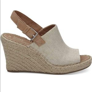 Toms Natural Oxford Wedges